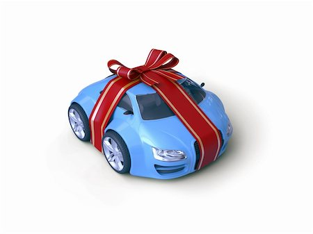 Car Gift (Gift stripe over little car with a bow) Stock Photo - Budget Royalty-Free & Subscription, Code: 400-04663252