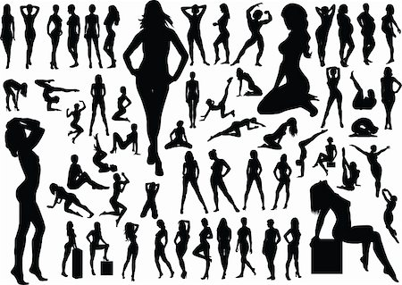 Collection of naked women silhouettes. Vector illustration Stock Photo - Budget Royalty-Free & Subscription, Code: 400-04663622