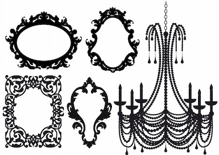 antique picture frames and crystal chandelier silhouette, vector Stock Photo - Budget Royalty-Free & Subscription, Code: 400-04674442