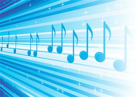 Blue background with music notes on lines Stock Photo - Budget Royalty-Free & Subscription, Code: 400-04674978
