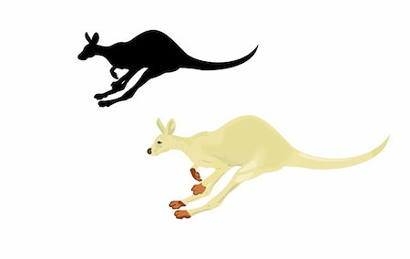 Running kangaroo isolated on a white background. Vector Stock Photo - Budget Royalty-Free & Subscription, Code: 400-04675762