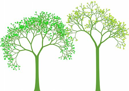 spring, green tree silhouettes with leaves, vector Stock Photo - Budget Royalty-Free & Subscription, Code: 400-04677324