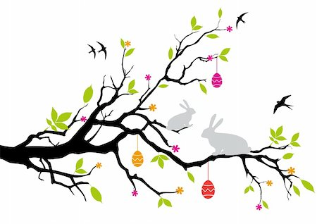 easter bunnies sitting on a spring tree, vector Stock Photo - Budget Royalty-Free & Subscription, Code: 400-04677326