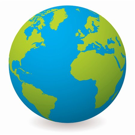 Illustrated earth globe in realistic land and ocean colours Stock Photo - Budget Royalty-Free & Subscription, Code: 400-04677454