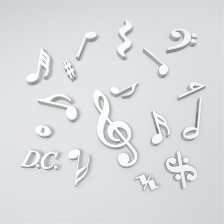 silver music symbols isolated on white background Stock Photo - Budget Royalty-Free & Subscription, Code: 400-04677677