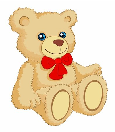 simsearch:400-04598294,k - Illustration of the brown teddy bear with a red ribbon around its neck on a white background. Stock Photo - Budget Royalty-Free & Subscription, Code: 400-04677958