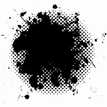 black ink splat with grunge effect and halftone dot fade Stock Photo - Budget Royalty-Free & Subscription, Code: 400-04678453