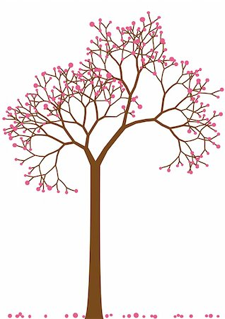 spring tree with cherry blossom, vector Stock Photo - Budget Royalty-Free & Subscription, Code: 400-04678605