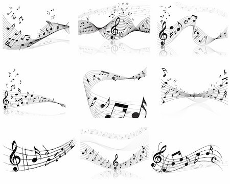 Vector musical notes staff backgrounds set for design use Stock Photo - Budget Royalty-Free & Subscription, Code: 400-04678726