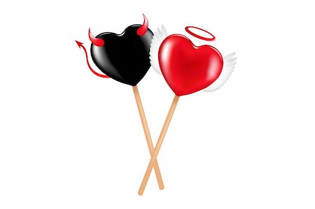 Two lollipops with heart shape like a demon and angel Stock Photo - Budget Royalty-Free & Subscription, Code: 400-04679199