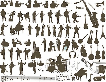 silhouette musical symbols - Vector silhouettes of musicians, music instruments and symbols Stock Photo - Budget Royalty-Free & Subscription, Code: 400-04679759
