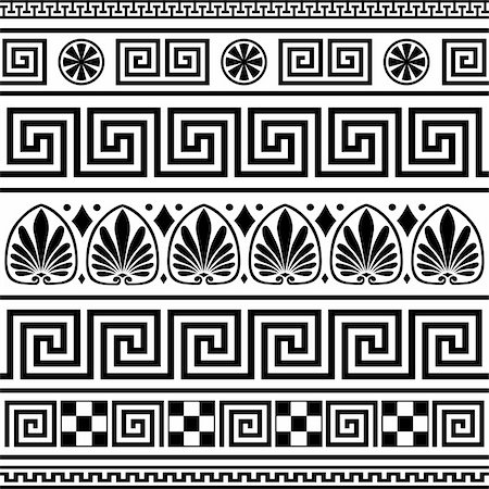 elakwasniewski (artist) - Set of vector greek borders, full scalable vector graphic, change colors as you like, included 300 dpi JPG. Elements isolated on white. Stock Photo - Budget Royalty-Free & Subscription, Code: 400-04671026