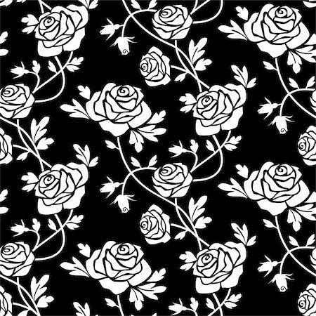 Romantic white roses at black background, seamless pattern. Full scalable vector graphic, change the colors as you like, included 300 dpi JPG. Stock Photo - Budget Royalty-Free & Subscription, Code: 400-04671029