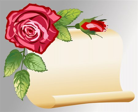 simsearch:400-04872199,k - Vector parchment with roses, love message, retro style, full scalable vector graphic and 300 dpi JPG Stock Photo - Budget Royalty-Free & Subscription, Code: 400-04671020