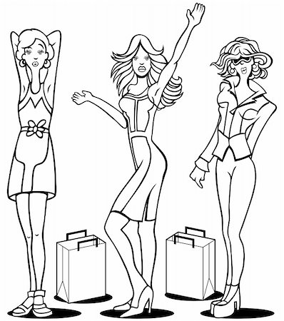 Cartoon of young women who love to shop. Stock Photo - Budget Royalty-Free & Subscription, Code: 400-04671119