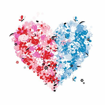 Floral heart shape of two halves Stock Photo - Budget Royalty-Free & Subscription, Code: 400-04671489
