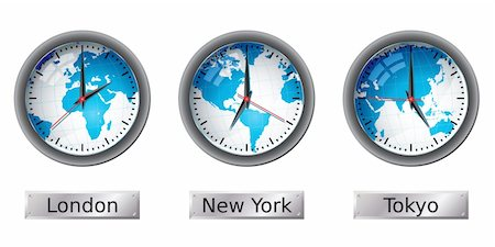 World map time zone clocks.  Please check my portfolio for more map illustrations. Stock Photo - Budget Royalty-Free & Subscription, Code: 400-04672052