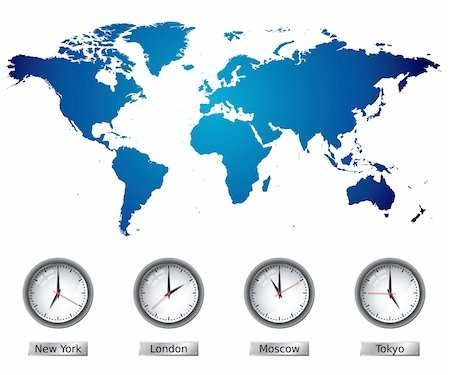 World Map with time zones. Please check my portfolio for more map illustrations. Stock Photo - Budget Royalty-Free & Subscription, Code: 400-04672053