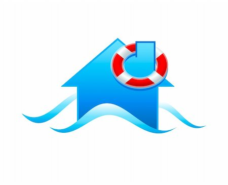 flooded homes - House with life guard under flooding water isolated Stock Photo - Budget Royalty-Free & Subscription, Code: 400-04672117