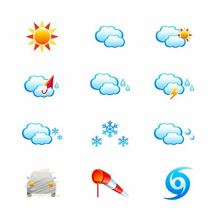 Weather icon-set isolated over white Stock Photo - Budget Royalty-Free & Subscription, Code: 400-04672129