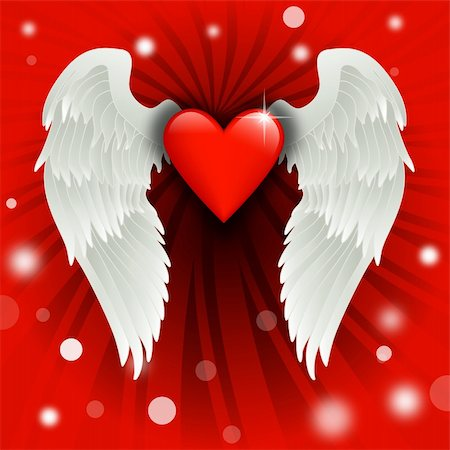 fly heart - shiny heart with angel wings over a burst background Stock Photo - Budget Royalty-Free & Subscription, Code: 400-04672177