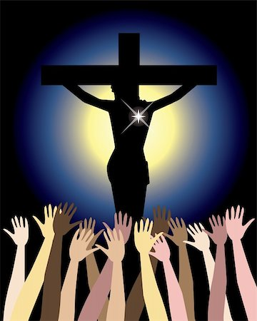 Vector Illustration showing the power of the holy spirit, Jesus Christ on cross. Easter Resurrection Stock Photo - Budget Royalty-Free & Subscription, Code: 400-04672416