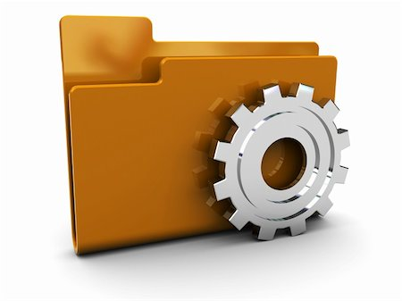 3d illustration of folder icon with gear wheel Stock Photo - Budget Royalty-Free & Subscription, Code: 400-04672625