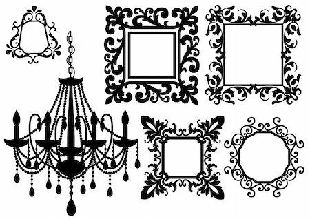 antique picture frames and crystal chandelier silhouette, vector Stock Photo - Budget Royalty-Free & Subscription, Code: 400-04672958