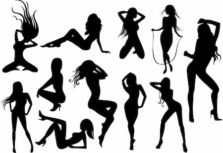 female nude sex - vector illustration  of a Female Stripper Silhouettes Stock Photo - Budget Royalty-Free & Subscription, Code: 400-04673997