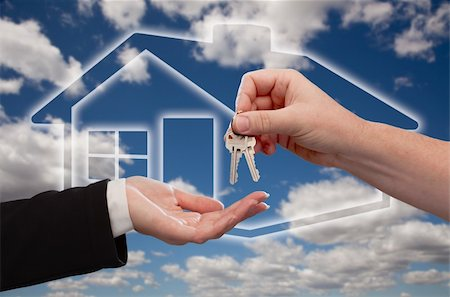 simsearch:400-05936191,k - Handing Over the House Keys on Ghosted Home Icon, Clouds and Sky Stock Photo - Budget Royalty-Free & Subscription, Code: 400-04684749