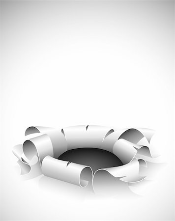 drawn curved - torn hole in the paper with bent edges vector illustration Stock Photo - Budget Royalty-Free & Subscription, Code: 400-04685079