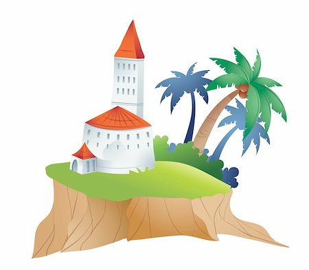 illustration drawing of island and castle Stock Photo - Budget Royalty-Free & Subscription, Code: 400-04685121
