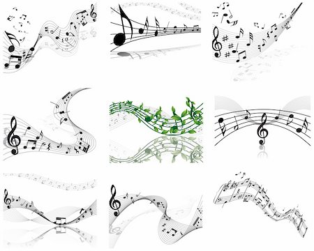 Vector musical notes staff background for design use Stock Photo - Budget Royalty-Free & Subscription, Code: 400-04687509