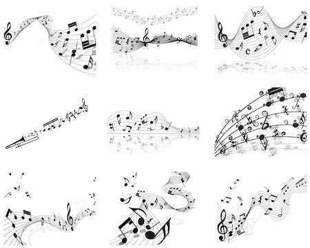 Vector musical notes staff background for design use Stock Photo - Budget Royalty-Free & Subscription, Code: 400-04687511