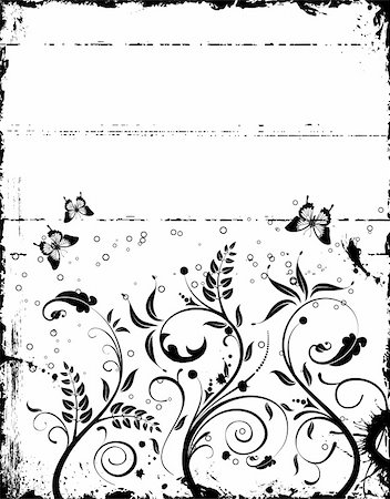 simsearch:400-03995944,k - Grunge paint floral frame with butterfly, element for design, vector illustration Stock Photo - Budget Royalty-Free & Subscription, Code: 400-04687734