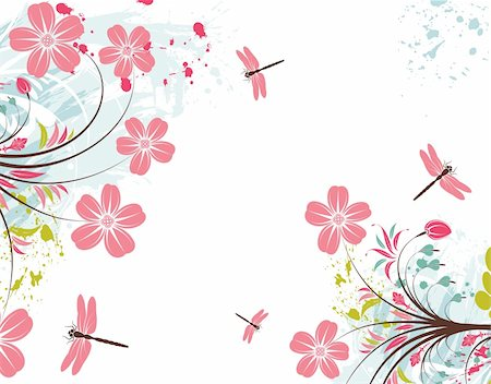 simsearch:400-03995944,k - Grunge paint flower background with dragonfly, element for design, vector illustration Stock Photo - Budget Royalty-Free & Subscription, Code: 400-04687769