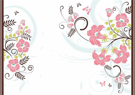 filigree designs in trees and insects - Floral frame with butterfly, element for design, vector illustration Stock Photo - Budget Royalty-Free & Subscription, Code: 400-04687794
