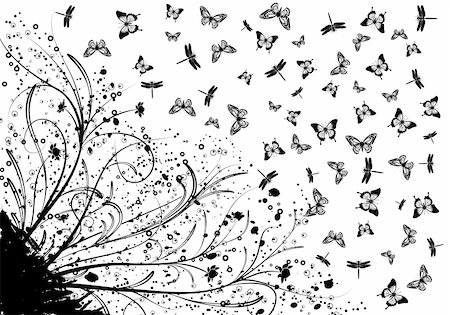 simsearch:400-03995944,k - Grunge floral background with plenty of butterfly and dragonfly, element for design, vector illustration Stock Photo - Budget Royalty-Free & Subscription, Code: 400-04687799