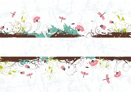 simsearch:400-03995944,k - Grunge paint flower background with dragonfly, element for design, vector illustration Stock Photo - Budget Royalty-Free & Subscription, Code: 400-04687792