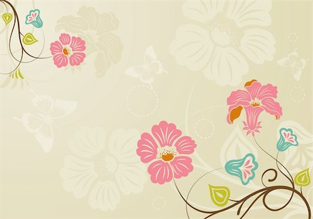 filigree designs in trees and insects - Floral background with butterfly, element for design, vector illustration Stock Photo - Budget Royalty-Free & Subscription, Code: 400-04687814