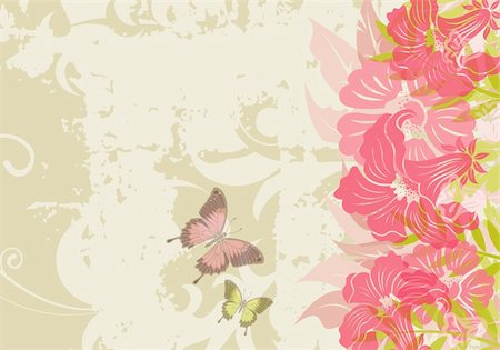 filigree designs in trees and insects - Grunge floral background with butterfly (no transparency), element for design, vector illustration Stock Photo - Budget Royalty-Free & Subscription, Code: 400-04687816