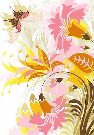 filigree designs in trees and insects - Floral background with butterfly, element for design, vector illustration Stock Photo - Budget Royalty-Free & Subscription, Code: 400-04687810