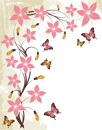 Grunge floral background with butterfly, element for design, vector illustration Stock Photo - Budget Royalty-Free & Subscription, Code: 400-04687825