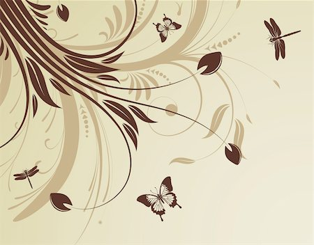 filigree designs in trees and insects - Floral background with butterfly and dragonfly pattern, element for design, vector illustration Stock Photo - Budget Royalty-Free & Subscription, Code: 400-04687820