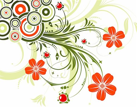 Floral background with circle, element for design, vector illustration Stock Photo - Budget Royalty-Free & Subscription, Code: 400-04687832