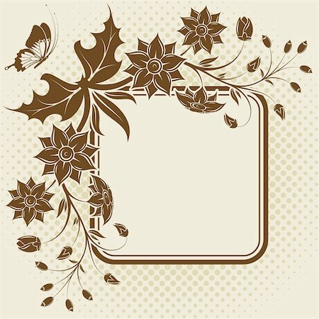 filigree designs in trees and insects - Flower frame with Butterfly and halftone pattern, element for design, vector illustration Stock Photo - Budget Royalty-Free & Subscription, Code: 400-04687915