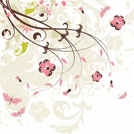filigree designs in trees and insects - Grunge flower background with butterfly, element for design, vector illustration Stock Photo - Budget Royalty-Free & Subscription, Code: 400-04687917