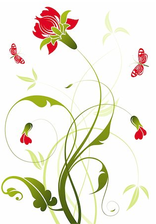 filigree designs in trees and insects - Floral background with butterfly, element for design, vector illustration Stock Photo - Budget Royalty-Free & Subscription, Code: 400-04687965
