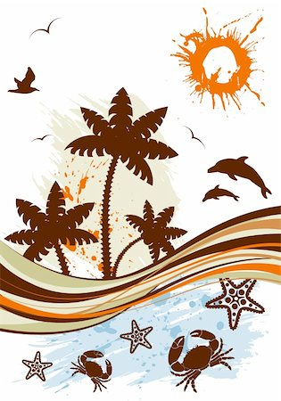 filigree tree - Grunge summer background with palm tree, dolphin, starfish, crab, wave pattern, vector illustration Stock Photo - Budget Royalty-Free & Subscription, Code: 400-04687967