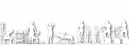 Illustrated foreground of a gym scene in silhouette with copy-space Stock Photo - Budget Royalty-Free & Subscription, Code: 400-04688867